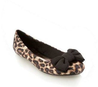 Red Herring Brown leopard print bow ballet pumps