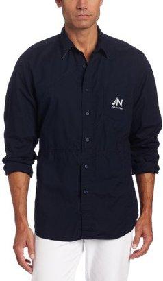 Nautica Men's Long Sleeve Pieced Solid Woven