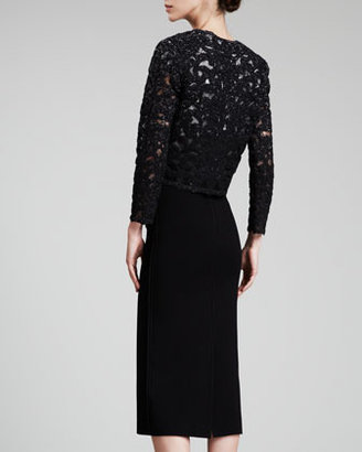 Oscar de la Renta Ruched-Waist Lace Jacket, Black