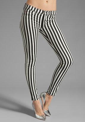 Hudson Jeans Krista Super Skinny in Black/White Stripe