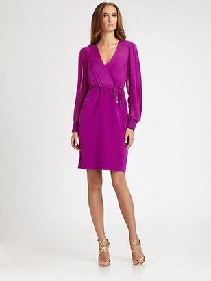Kay Unger Chiffon Faux Wrap Dress