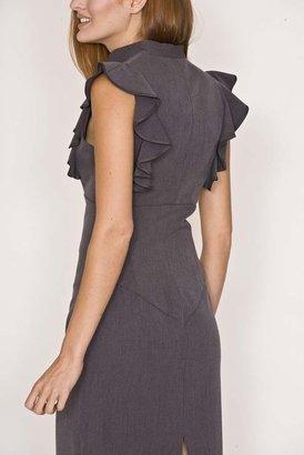 Black Halo Keyhole Ruffle Sheath Dress in Charcoal