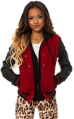 Obey The Wool Varsity Jacket in Red Black
