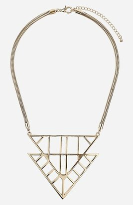 Topshop Triangle Drop Collar Necklace Gold