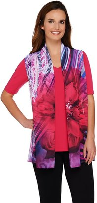 Susan Graver Liquid Knit V-Neck Top with Printed Sheer Chiffon Vest