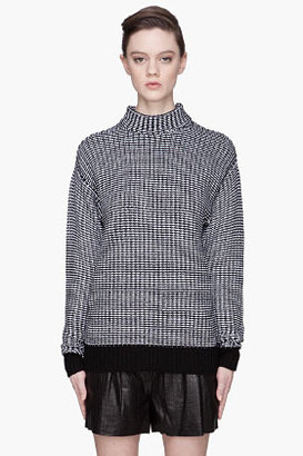 Alexander Wang Black and white knit turtleneck sweater