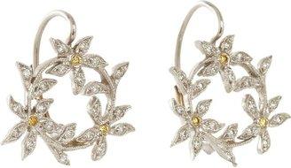 Cathy Waterman Women's Circle of Flowers Drop Earrings-Colorless