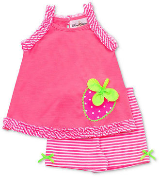 Rare Editions Baby Set, Baby Girls Striped Strawberry Top & Shorts