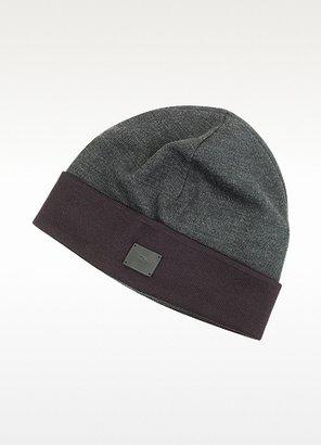 Christian Dior Burgundy and Dark Gray Wool Hat
