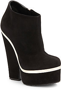 Giuseppe Zanotti Suede Cutout Wedge Ankle Boots
