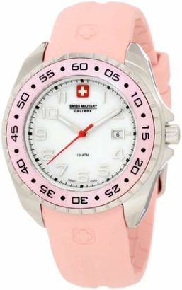 Swiss Military Calibre Women's 06-6S1-04-008 Sealander Mother-of-Pearl Rotating Bezel Rubber Watch