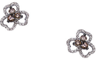 Topten Top Ten White Brown Diamond Floral Stud Earrings