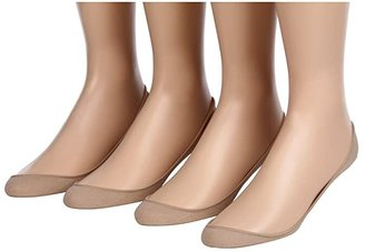 Hue Hidden Cotton Liner 4-Pair Pack (Cream) Women's No Show Socks Shoes