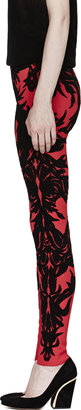 Alexander McQueen Red Spine Lace Jacquard Leggings