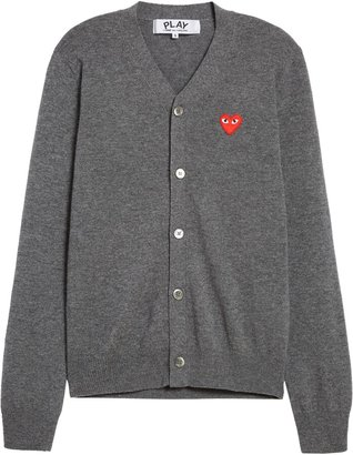 Comme des Garcons Wool Cardigan with Heart Applique