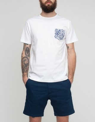 Sunspel Navy Paisley Pocket Tee