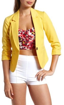 Charlotte Russe Yellow Ruched-Sleeve Blazer