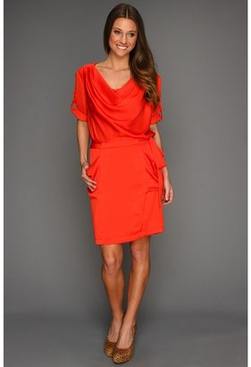 BCBGMAXAZRIA Alex Cowl Neck Woven Dress (Curry Red) - Apparel