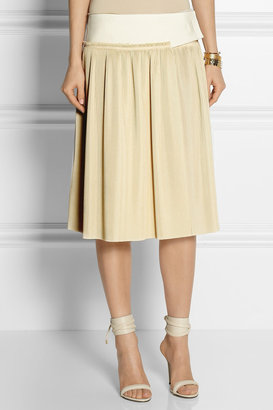 Calvin Klein Collection Neoprene and pleated voile wrap skirt