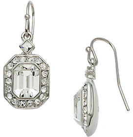 Carolee Silvertone Emerald-Cut Crystal Drop Earrings