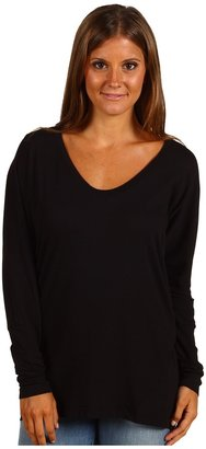 C&C California Twist Long Sleeve Dolman Top (Black) - Apparel