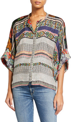 Johnny Was Plus Size Lucasta Reversible Silk Blouse