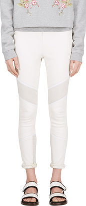 IRO White Leather & Suede Banded Zaina Leggings