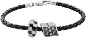 "Insignia Collection NASCAR Dale Earnhardt Jr. Leather Bracelet & Sterling Silver ""88"" Bead Set"