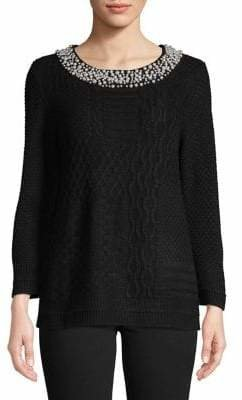 Karl Lagerfeld Paris Faux Pearl-Embellished Sweater