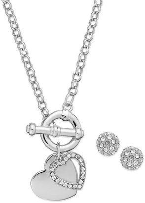 Charter Club Silver-Tone Heart Charm Toggle Necklace and Pave Crystal Stud Earrings Jewelry Set Web ID: 1014269