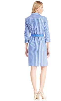 Jones New York Signature Three-Quarter-Sleeve Striped Polka-Dot Belt Shirtdress