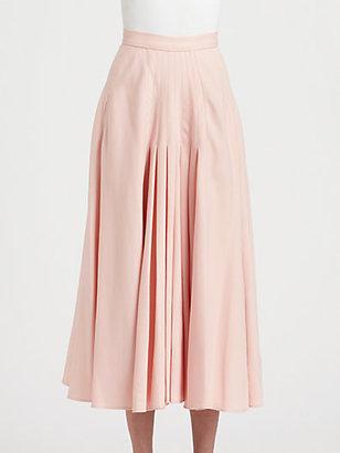 Oscar de la Renta Pleated Midi Skirt
