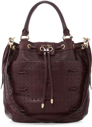 Nanette Lepore Bow Perforated Drawstring Tote, Wine