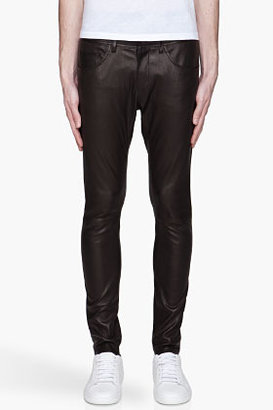 Neil Barrett Black buffed leather five-pocket pants