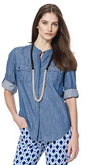 Jones New York Sport Blue Denim Roll Sleeve Shirt