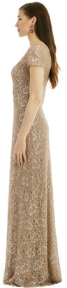 David Meister Lurex Dusted Lace Gown