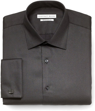 Geoffrey Beene Dress Shirt, Black Solid with French Cuffs