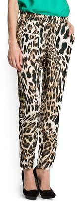 MANGO Outlet Leopard Print Satin-Finish Trousers