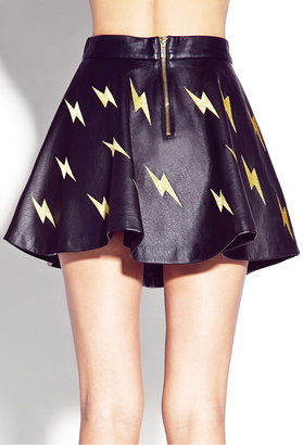 Forever 21 Shocking Faux Leather Skater Skirt
