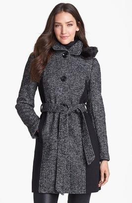 Ellen Tracy Faux Fur Trim Colorblock Tweed Coat (Online Only)