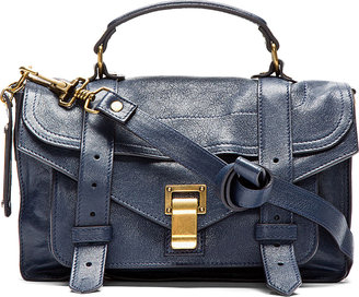 Proenza Schouler Midnight Blue PS1 Tiny Lux Leather Satchel Bag