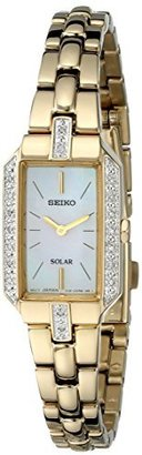Seiko Women's SUP236 Dress Solar Gold-Tone Watch $395 thestylecure.com