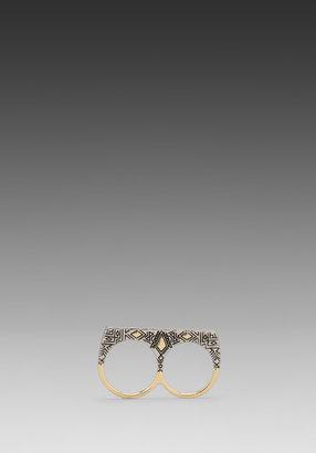 House Of Harlow Engraved Kilim Sliver Ring