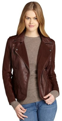 Members Only bordeaux faux leather asymmetrical motorcycle jacket