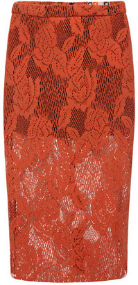 MSGM Coated Crochet Lace Pencil Skirt