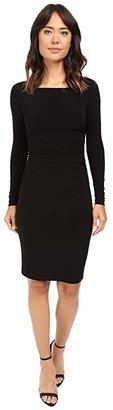 KAMALIKULTURE by Norma Kamali L/S Shirred Waist Dress (Black) Women's Dress