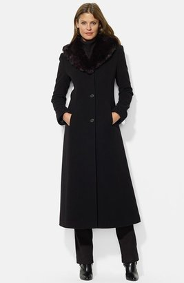Women's Lauren Ralph Lauren Faux Fur Shawl Collar Long Wool Blend Coat $420 thestylecure.com