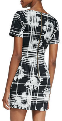 French Connection Wilderness Check Pleated Dress, Black/White