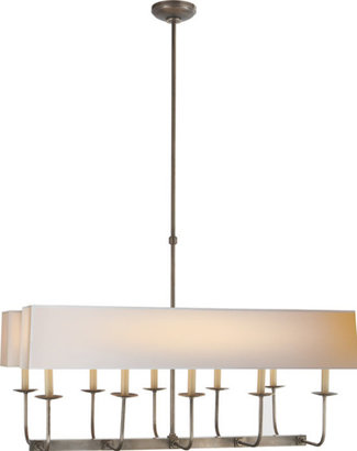 E.F. Chapman TT LINEAR BRANCHED 10-LIGHT CHANDELIER WITH DUAL LINEAR SHADE