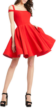Mac Duggal Square-Neck Double-Strap Mini Fit-&-Flare Dress